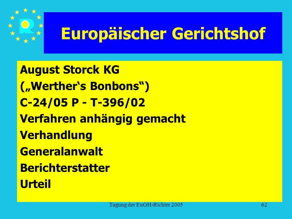 """Tagung der EuGH-Richter 200562 Europäischer Gerichtshof August Storck KG (""""Werther's Bonbons ) C-24/05 P - T-396/02 Verfahren anhängig gemacht Verhandlung Generalanwalt Berichterstatter Urteil"""