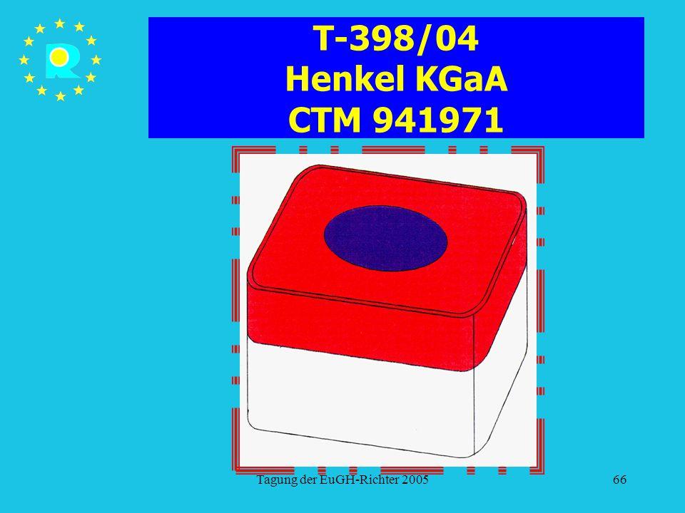 Tagung der EuGH-Richter 200566 T-398/04 Henkel KGaA CTM 941971