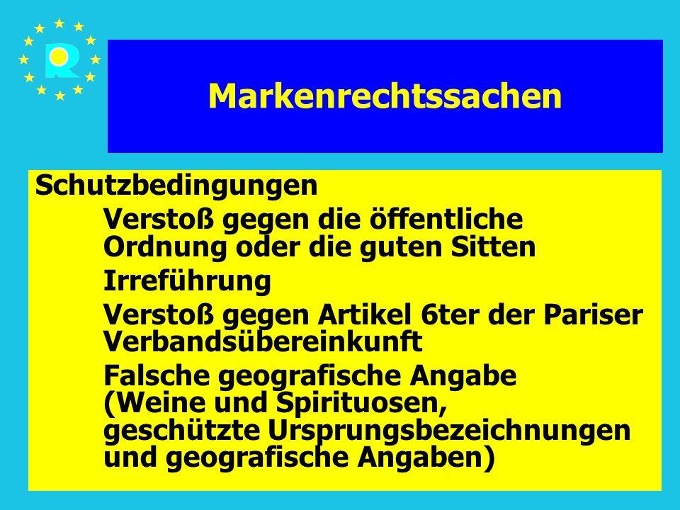 Tagung der EuGH-Richter 20057 Markenrechtssachen Schutzbedingungen Verstoß gegen die öffentliche Ordnung oder die guten Sitten Irreführung Verstoß geg