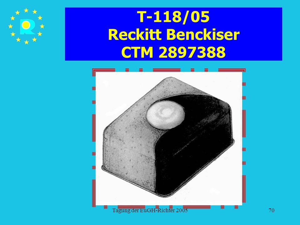 Tagung der EuGH-Richter 200570 T-118/05 Reckitt Benckiser CTM 2897388