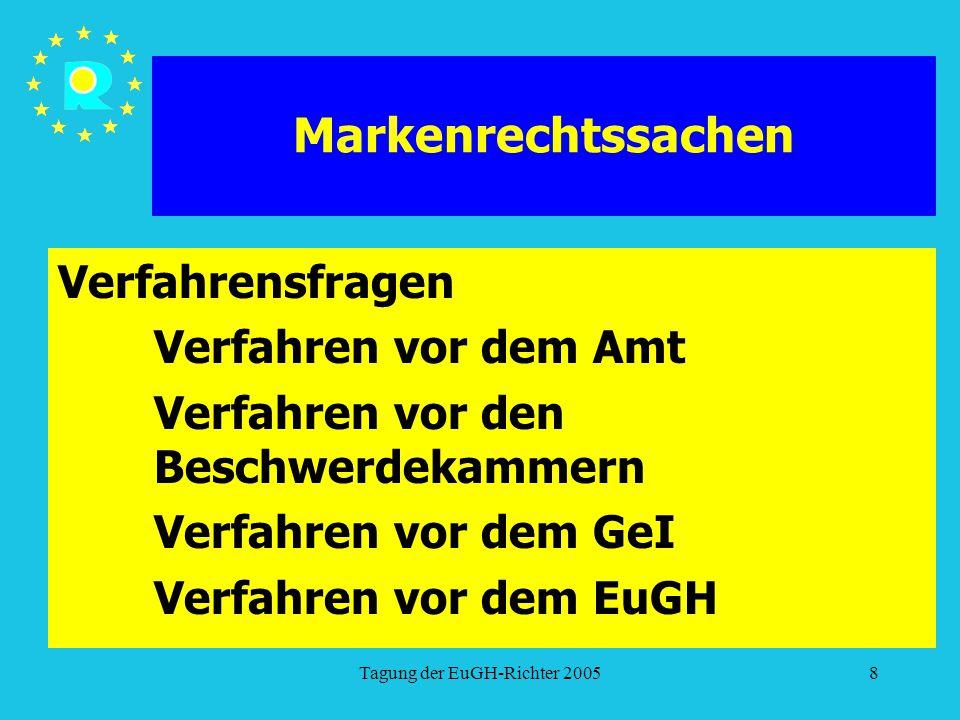 Tagung der EuGH-Richter 20058 Markenrechtssachen Verfahrensfragen Verfahren vor dem Amt Verfahren vor den Beschwerdekammern Verfahren vor dem GeI Verfahren vor dem EuGH
