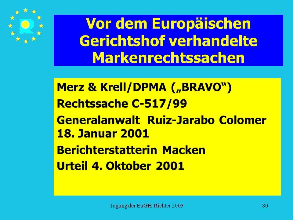 """Tagung der EuGH-Richter 200580 Vor dem Europäischen Gerichtshof verhandelte Markenrechtssachen Merz & Krell/DPMA (""""BRAVO ) Rechtssache C-517/99 Generalanwalt Ruiz-Jarabo Colomer 18."""