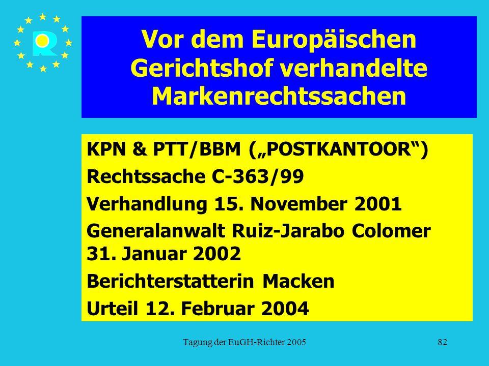 """Tagung der EuGH-Richter 200582 Vor dem Europäischen Gerichtshof verhandelte Markenrechtssachen KPN & PTT/BBM (""""POSTKANTOOR ) Rechtssache C-363/99 Verhandlung 15."""