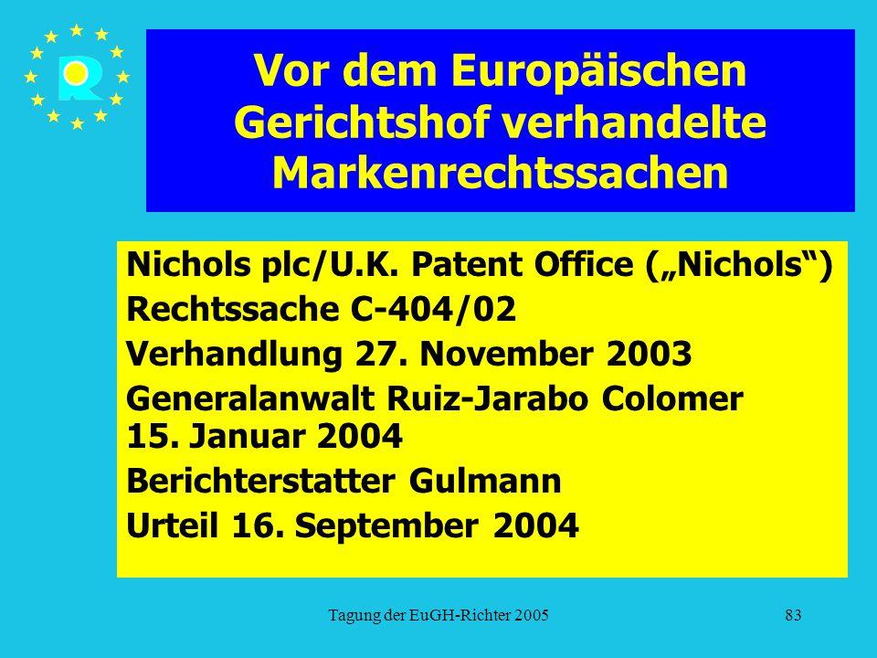 """Tagung der EuGH-Richter 200583 Vor dem Europäischen Gerichtshof verhandelte Markenrechtssachen Nichols plc/U.K. Patent Office (""""Nichols"""") Rechtssache"""