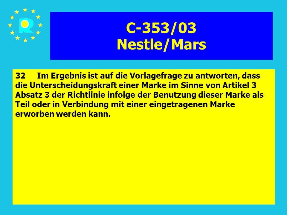 Tagung der EuGH-Richter 200585 C-353/03 Nestle/Mars 32 Im Ergebnis ist auf die Vorlagefrage zu antworten, dass die Unterscheidungskraft einer Marke im Sinne von Artikel 3 Absatz 3 der Richtlinie infolge der Benutzung dieser Marke als Teil oder in Verbindung mit einer eingetragenen Marke erworben werden kann.