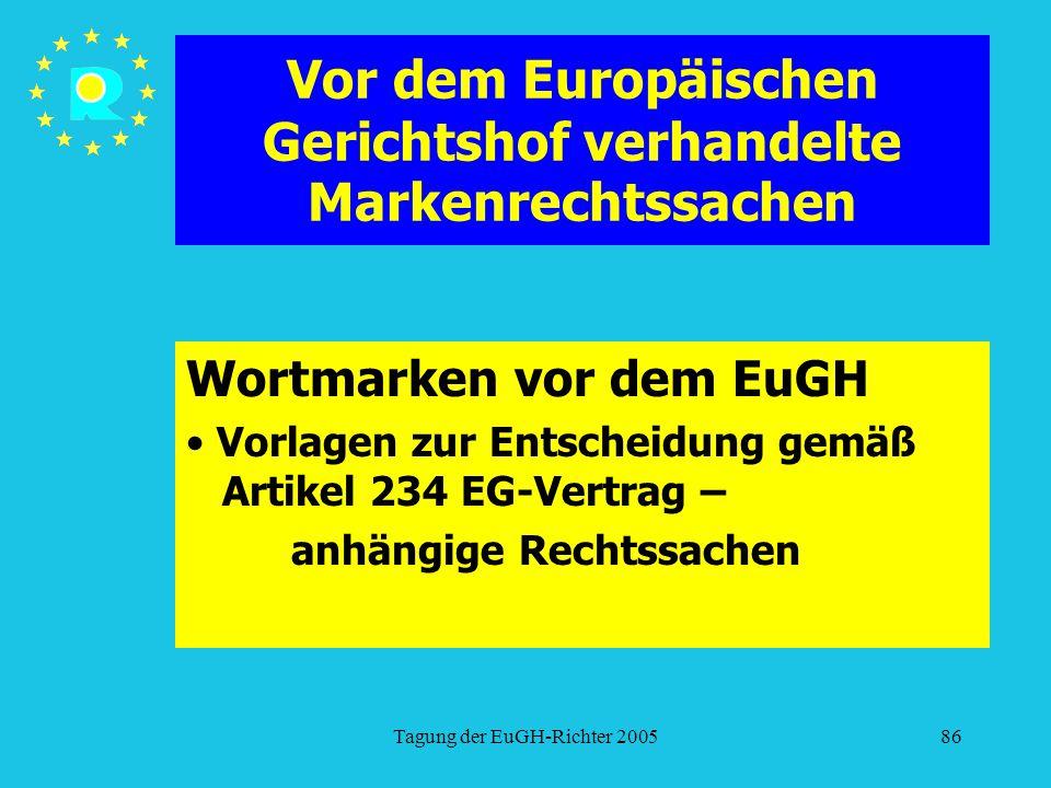 Tagung der EuGH-Richter 200586 Vor dem Europäischen Gerichtshof verhandelte Markenrechtssachen Wortmarken vor dem EuGH Vorlagen zur Entscheidung gemäß Artikel 234 EG-Vertrag – anhängige Rechtssachen