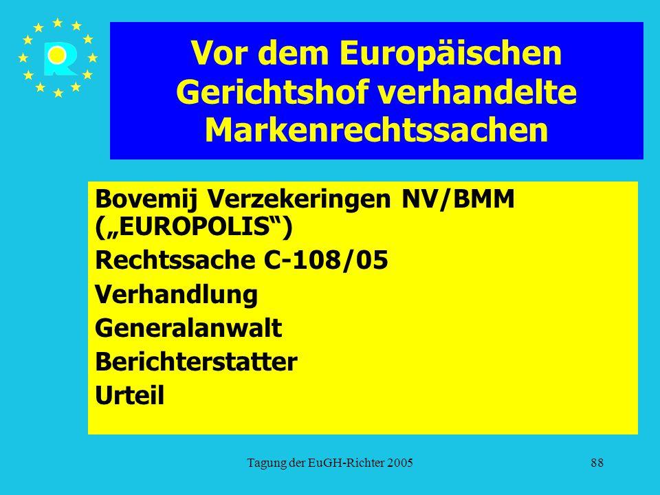 """Tagung der EuGH-Richter 200588 Vor dem Europäischen Gerichtshof verhandelte Markenrechtssachen Bovemij Verzekeringen NV/BMM (""""EUROPOLIS ) Rechtssache C-108/05 Verhandlung Generalanwalt Berichterstatter Urteil"""