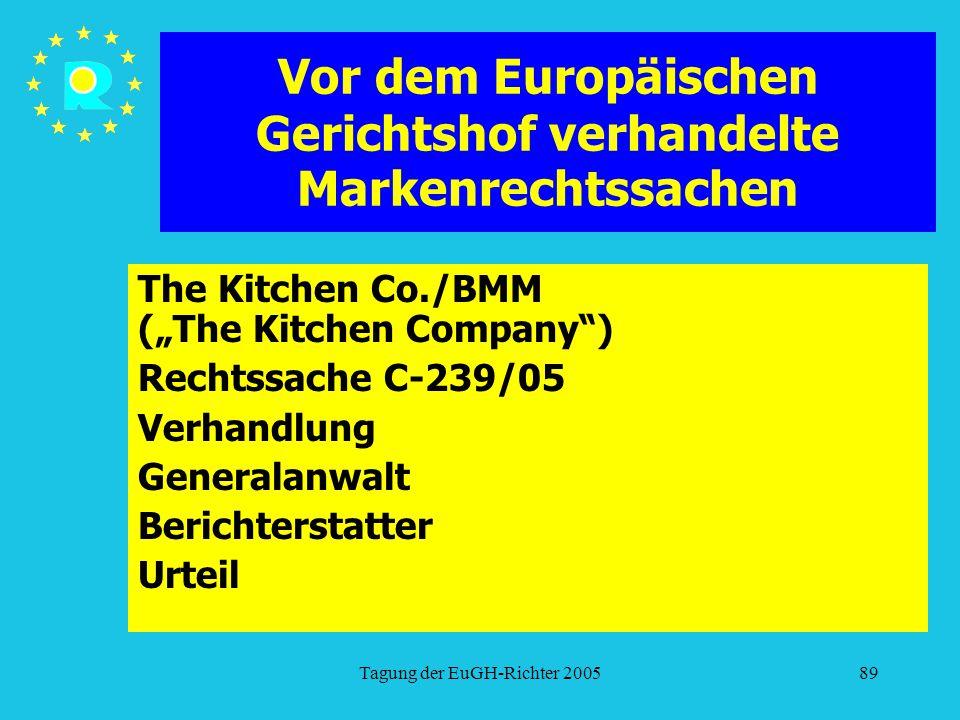"""Tagung der EuGH-Richter 200589 Vor dem Europäischen Gerichtshof verhandelte Markenrechtssachen The Kitchen Co./BMM (""""The Kitchen Company ) Rechtssache C-239/05 Verhandlung Generalanwalt Berichterstatter Urteil"""