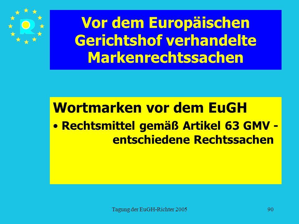 Tagung der EuGH-Richter 200590 Vor dem Europäischen Gerichtshof verhandelte Markenrechtssachen Wortmarken vor dem EuGH Rechtsmittel gemäß Artikel 63 GMV - entschiedene Rechtssachen