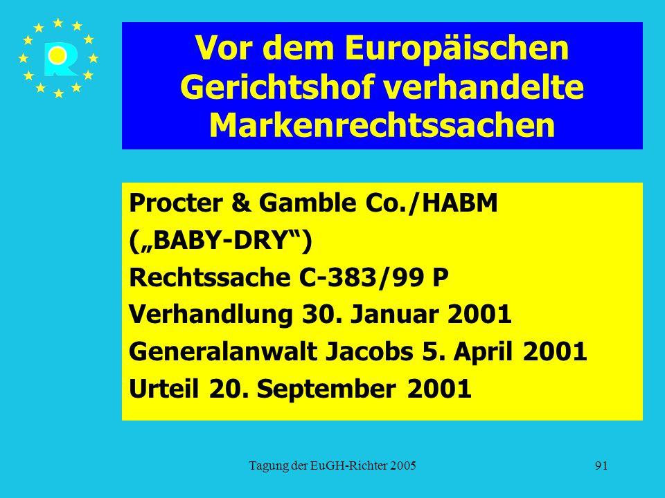 """Tagung der EuGH-Richter 200591 Vor dem Europäischen Gerichtshof verhandelte Markenrechtssachen Procter & Gamble Co./HABM (""""BABY-DRY ) Rechtssache C-383/99 P Verhandlung 30."""