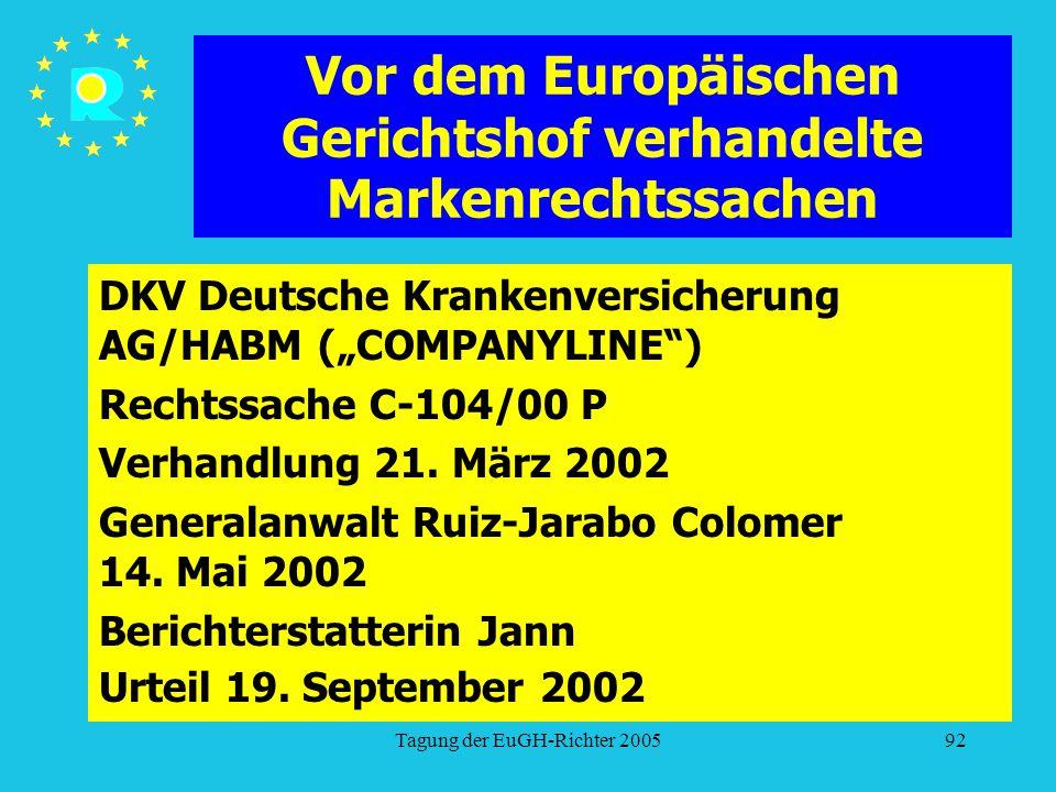 """Tagung der EuGH-Richter 200592 Vor dem Europäischen Gerichtshof verhandelte Markenrechtssachen DKV Deutsche Krankenversicherung AG/HABM (""""COMPANYLINE ) Rechtssache C-104/00 P Verhandlung 21."""