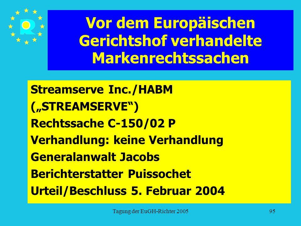 """Tagung der EuGH-Richter 200595 Vor dem Europäischen Gerichtshof verhandelte Markenrechtssachen Streamserve Inc./HABM (""""STREAMSERVE ) Rechtssache C-150/02 P Verhandlung: keine Verhandlung Generalanwalt Jacobs Berichterstatter Puissochet Urteil/Beschluss 5."""