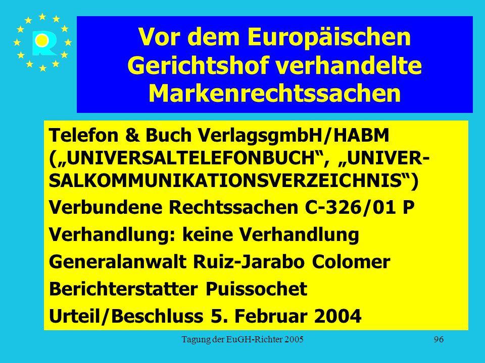 """Tagung der EuGH-Richter 200596 Vor dem Europäischen Gerichtshof verhandelte Markenrechtssachen Telefon & Buch VerlagsgmbH/HABM (""""UNIVERSALTELEFONBUCH , """"UNIVER- SALKOMMUNIKATIONSVERZEICHNIS ) Verbundene Rechtssachen C-326/01 P Verhandlung: keine Verhandlung Generalanwalt Ruiz-Jarabo Colomer Berichterstatter Puissochet Urteil/Beschluss 5."""