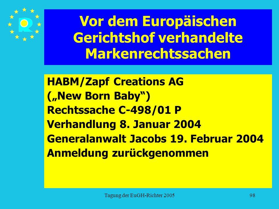 """Tagung der EuGH-Richter 200598 Vor dem Europäischen Gerichtshof verhandelte Markenrechtssachen HABM/Zapf Creations AG (""""New Born Baby ) Rechtssache C-498/01 P Verhandlung 8."""