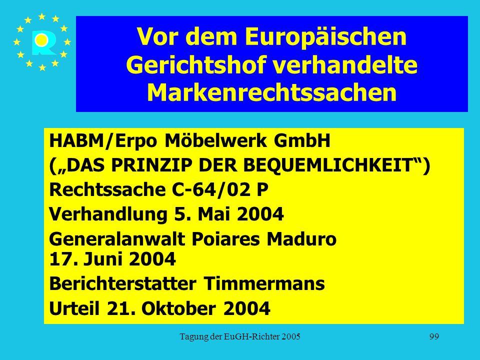 """Tagung der EuGH-Richter 200599 Vor dem Europäischen Gerichtshof verhandelte Markenrechtssachen HABM/Erpo Möbelwerk GmbH (""""DAS PRINZIP DER BEQUEMLICHKEIT ) Rechtssache C-64/02 P Verhandlung 5."""