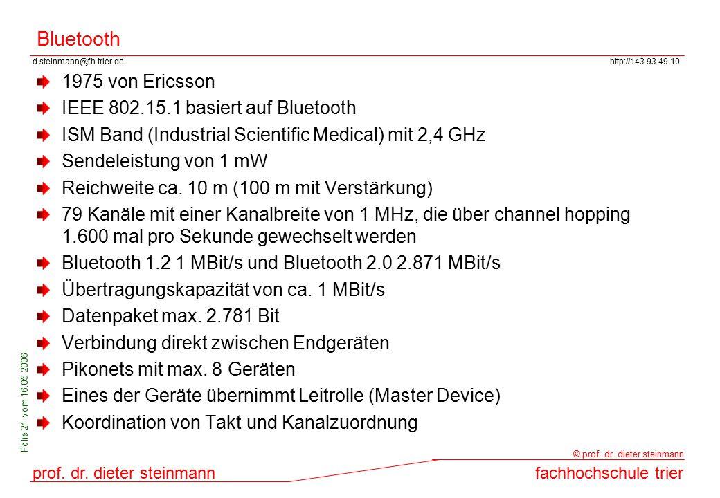 d.steinmann@fh-trier.dehttp://143.93.49.10 prof. dr. dieter steinmannfachhochschule trier © prof. dr. dieter steinmann Folie 21 vom 16.05.2006 Bluetoo