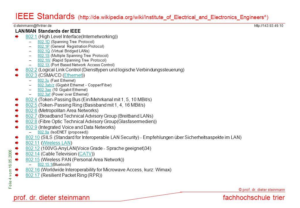 d.steinmann@fh-trier.dehttp://143.93.49.10 prof. dr. dieter steinmannfachhochschule trier © prof. dr. dieter steinmann Folie 4 vom 16.05.2006 IEEE Sta