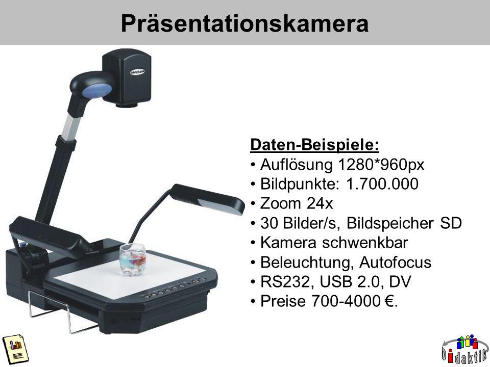 Präsentationskamera Daten-Beispiele: Auflösung 1280*960px Bildpunkte: 1.700.000 Zoom 24x 30 Bilder/s, Bildspeicher SD Kamera schwenkbar Beleuchtung, Autofocus RS232, USB 2.0, DV Preise 700-4000 €.