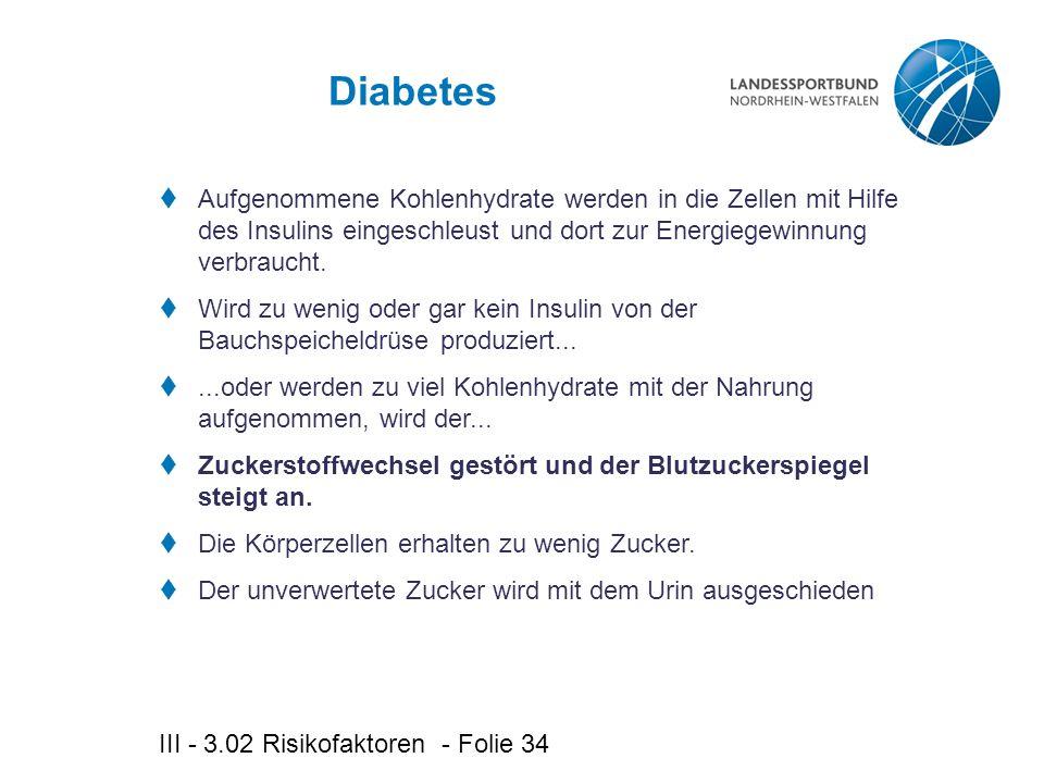 III - 3.02 Risikofaktoren - Folie 34 Diabetes  Aufgenommene Kohlenhydrate werden in die Zellen mit Hilfe des Insulins eingeschleust und dort zur Energiegewinnung verbraucht.
