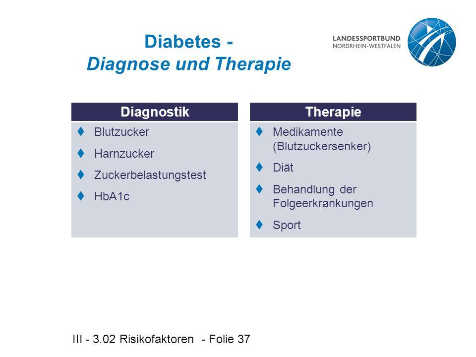 III - 3.02 Risikofaktoren - Folie 37 Diabetes - Diagnose und Therapie DiagnostikTherapie  Blutzucker  Harnzucker  Zuckerbelastungstest  HbA1c  Medikamente (Blutzuckersenker)  Diät  Behandlung der Folgeerkrankungen  Sport
