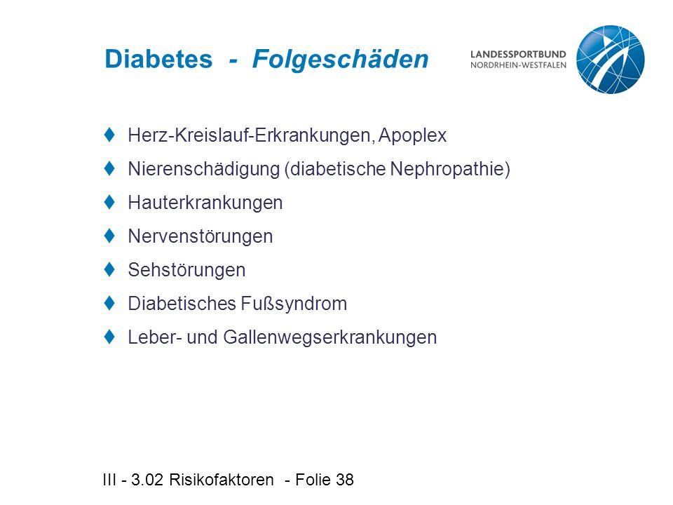 III - 3.02 Risikofaktoren - Folie 38 Diabetes - Folgeschäden  Herz-Kreislauf-Erkrankungen, Apoplex  Nierenschädigung (diabetische Nephropathie)  Hauterkrankungen  Nervenstörungen  Sehstörungen  Diabetisches Fußsyndrom  Leber- und Gallenwegserkrankungen