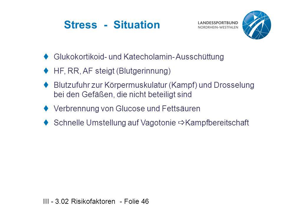 III - 3.02 Risikofaktoren - Folie 46 Stress - Situation  Glukokortikoid- und Katecholamin- Ausschüttung  HF, RR, AF steigt (Blutgerinnung)  Blutzufuhr zur Körpermuskulatur (Kampf) und Drosselung bei den Gefäßen, die nicht beteiligt sind  Verbrennung von Glucose und Fettsäuren  Schnelle Umstellung auf Vagotonie  Kampfbereitschaft