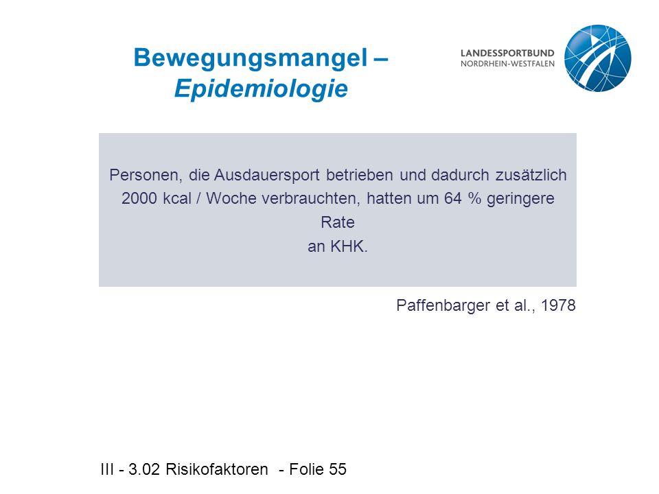 III - 3.02 Risikofaktoren - Folie 55 Bewegungsmangel – Epidemiologie Personen, die Ausdauersport betrieben und dadurch zusätzlich 2000 kcal / Woche verbrauchten, hatten um 64 % geringere Rate an KHK.