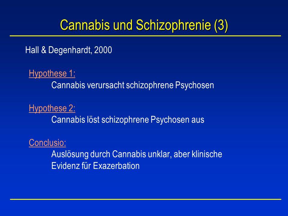 Cannabis und Schizophrenie (3) Hall & Degenhardt, 2000 Hypothese 1: Cannabis verursacht schizophrene Psychosen Hypothese 2: Cannabis löst schizophrene