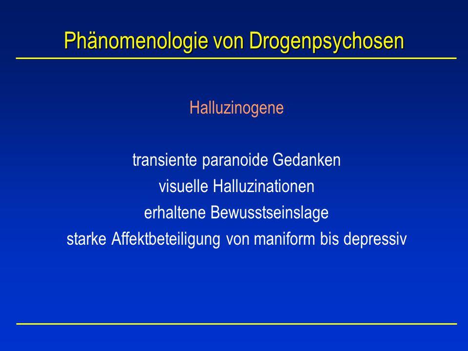 Phänomenologie von Drogenpsychosen Amphetamine / Kokain transiente paranoide Gedanken erhaltene Bewusstseinslage und Orientierung akustische, taktile und visuelle Halluzinationen Affektlabilität Schreckhaftigkeit Auto-/Fremdaggressivität