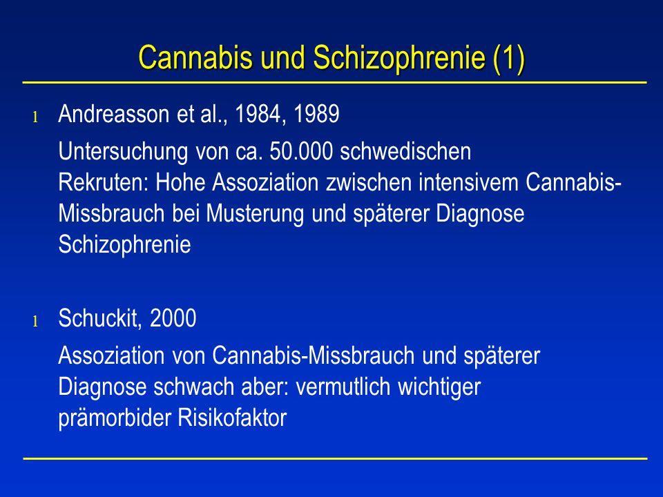 Cannabis und Schizophrenie (2) Allebeck et al., 1993 12-Jahres-Studie an 112 Patienten mit Schizophrenie und Cannabisabhängigkeit: davon hatten 77 Patienten erste psychotische Symptome nach Cannabismissbrauch –rascher Beginn –prominente produktive Symptome