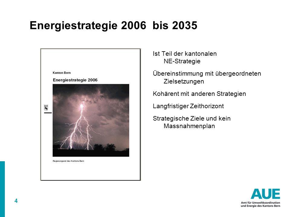 4 Energiestrategie 2006 bis 2035 Ist Teil der kantonalen NE-Strategie Übereinstimmung mit übergeordneten Zielsetzungen Kohärent mit anderen Strategien Langfristiger Zeithorizont Strategische Ziele und kein Massnahmenplan