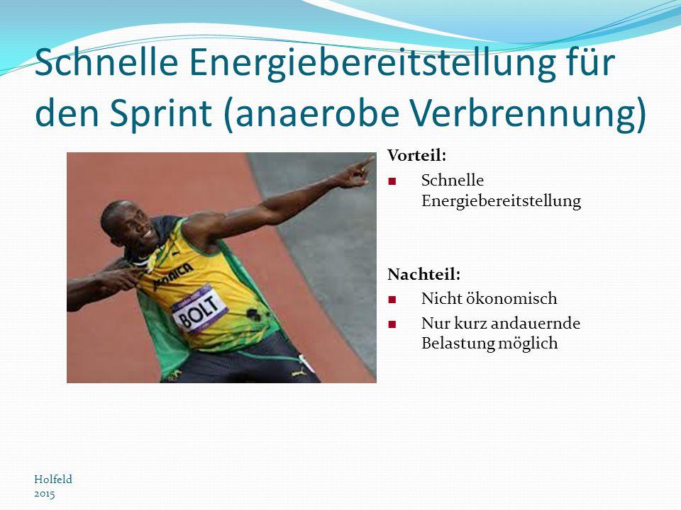 Schnelle Energiebereitstellung für den Sprint (anaerobe Verbrennung) Holfeld 2015 Vorteil: Schnelle Energiebereitstellung Nachteil: Nicht ökonomisch N