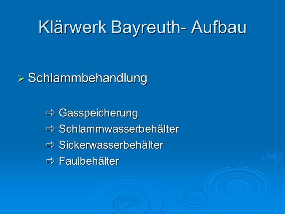 Klärwerk Bayreuth- Aufbau  Schlammbehandlung  Gasspeicherung  Schlammwasserbehälter  Sickerwasserbehälter  Faulbehälter