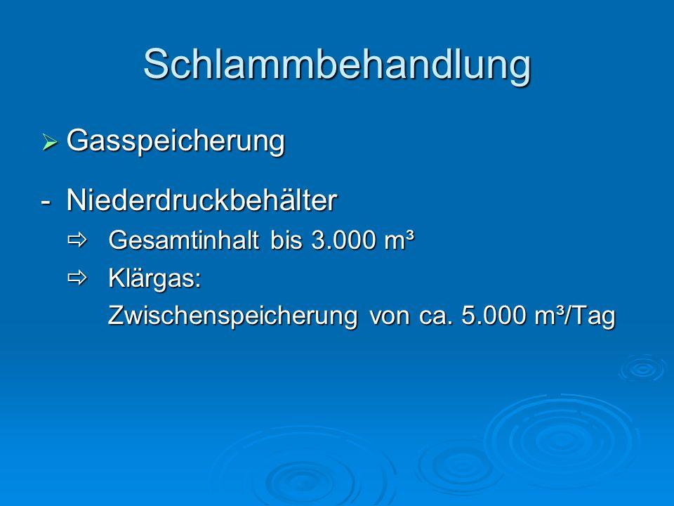 Schlammbehandlung  Gasspeicherung - Niederdruckbehälter  Gesamtinhalt bis 3.000 m³  Klärgas: Zwischenspeicherung von ca.