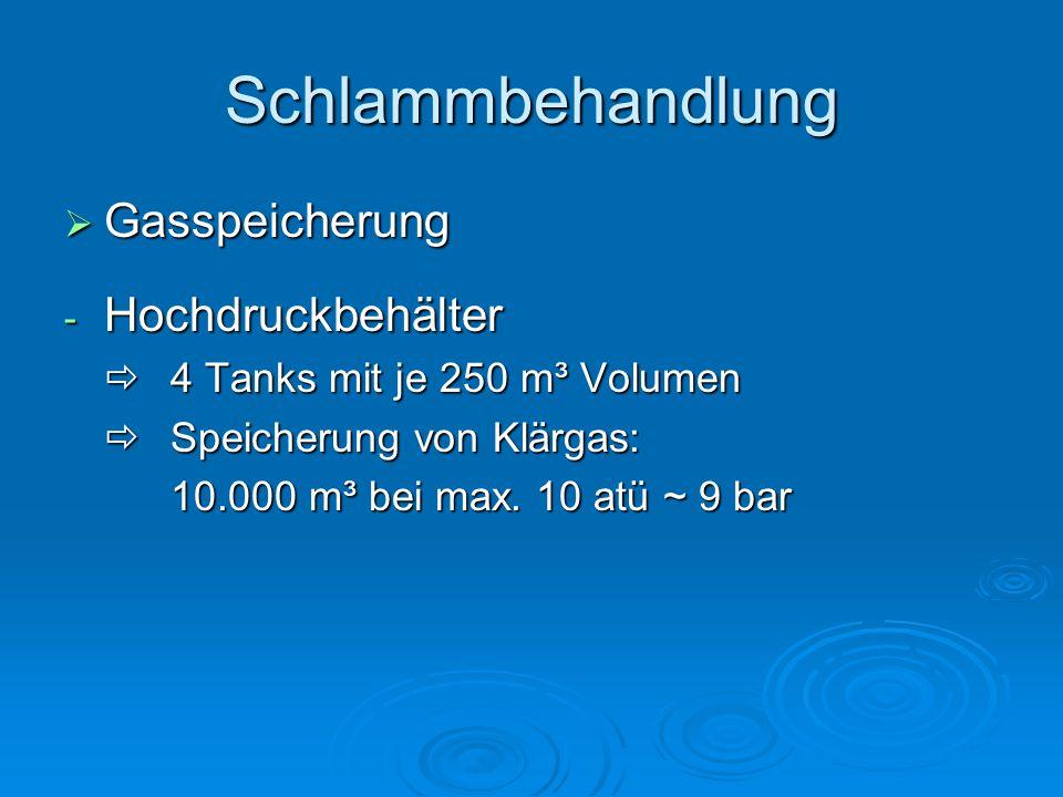 Schlammbehandlung  Gasspeicherung - Hochdruckbehälter  4 Tanks mit je 250 m³ Volumen  Speicherung von Klärgas: 10.000 m³ bei max.
