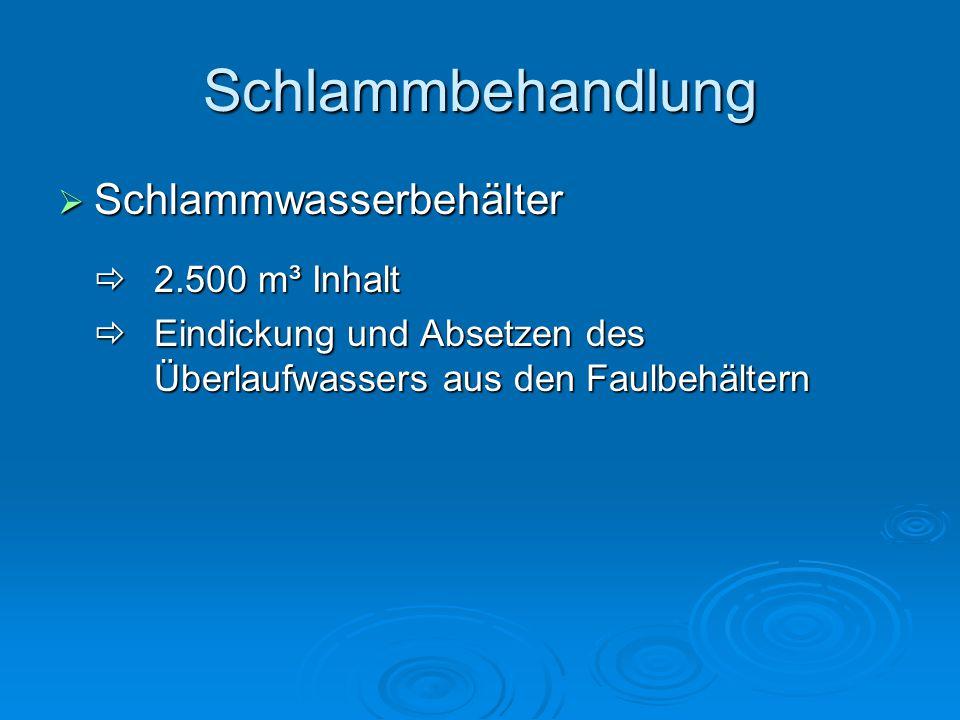 Schlammbehandlung  Schlammwasserbehälter  2.500 m³ Inhalt  Eindickung und Absetzen des Überlaufwassers aus den Faulbehältern