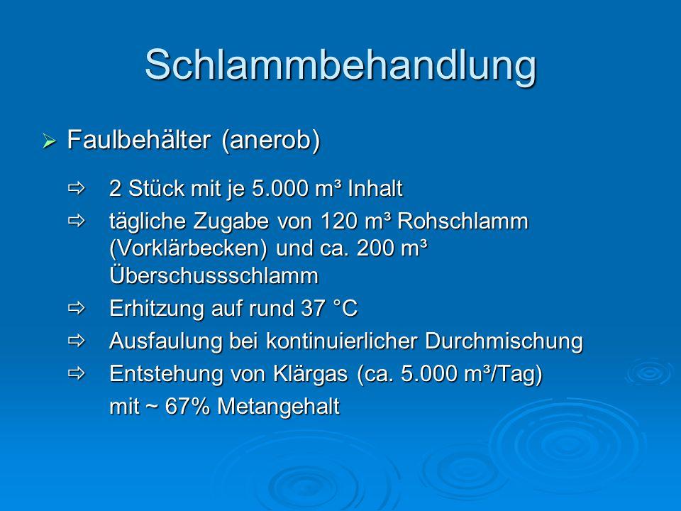 Schlammbehandlung  Faulbehälter (anerob)  2 Stück mit je 5.000 m³ Inhalt  tägliche Zugabe von 120 m³ Rohschlamm (Vorklärbecken) und ca.