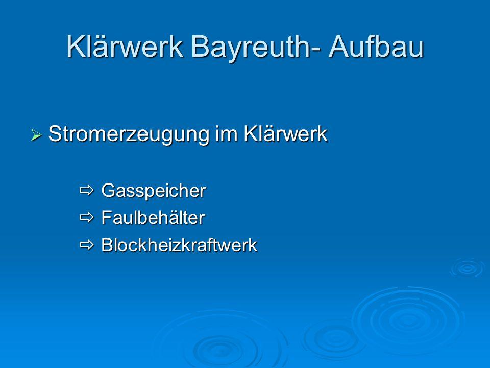 Klärwerk Bayreuth- Aufbau  Stromerzeugung im Klärwerk  Gasspeicher  Faulbehälter  Blockheizkraftwerk