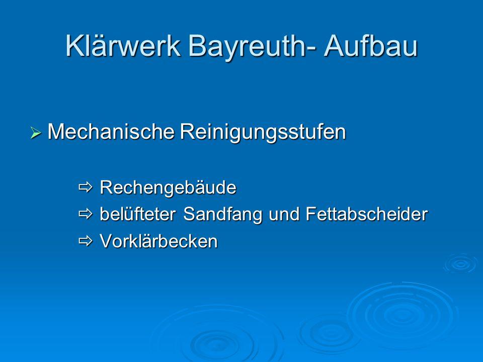 Klärwerk Bayreuth- Aufbau  Mechanische Reinigungsstufen  Rechengebäude  belüfteter Sandfang und Fettabscheider  Vorklärbecken