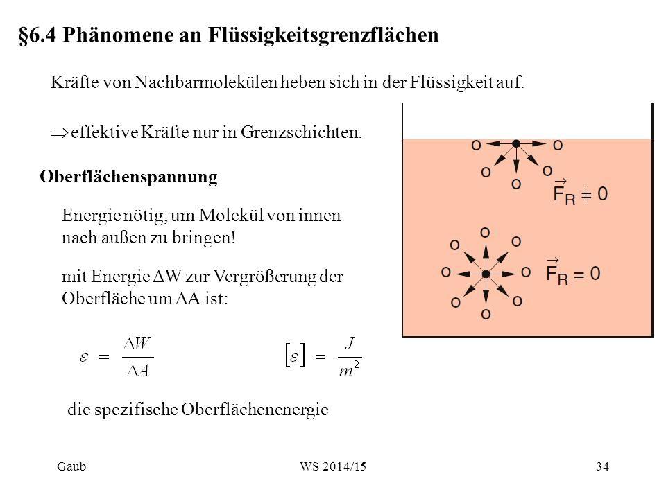 Messung der Oberflächenenergie  : Oberflächenspannung Die Oberfläche A der Flüssigkeitslamelle ist: Arbeit, um den Bügel zu bewegen: Nötige Zugspannung, genannt Oberflächenspannung, um den Bügel zu halten:  Gaub35WS 2014/15