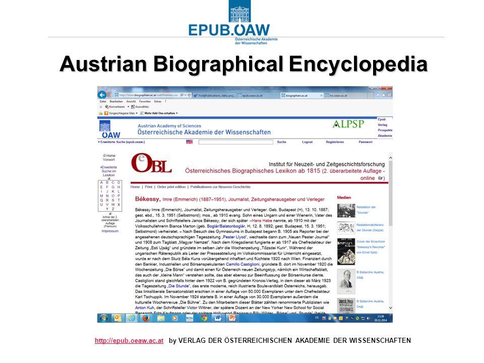http://epub.oeaw.ac.athttp://epub.oeaw.ac.at by VERLAG DER ÖSTERREICHISCHEN AKADEMIE DER WISSENSCHAFTEN Austrian Biographical Encyclopedia