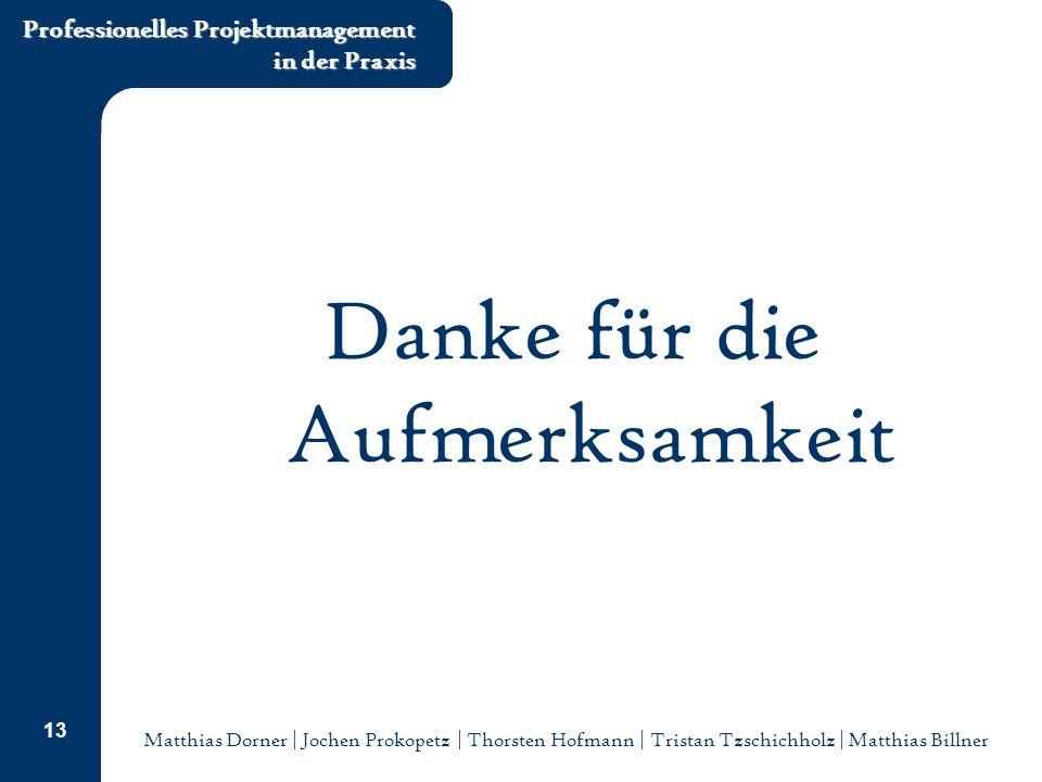 Matthias Dorner | Jochen Prokopetz | Thorsten Hofmann | Tristan Tzschichholz | Matthias Billner Professionelles Projektmanagement in der Praxis 13 Danke für die Aufmerksamkeit