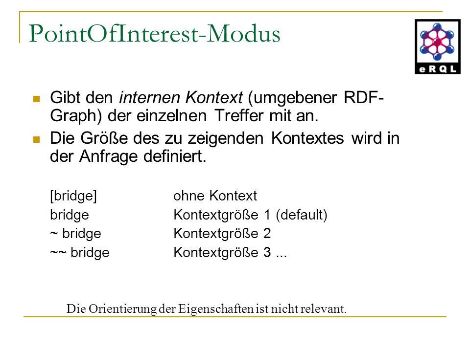 PointOfInterest-Modus Gibt den internen Kontext (umgebener RDF- Graph) der einzelnen Treffer mit an. Die Größe des zu zeigenden Kontextes wird in der