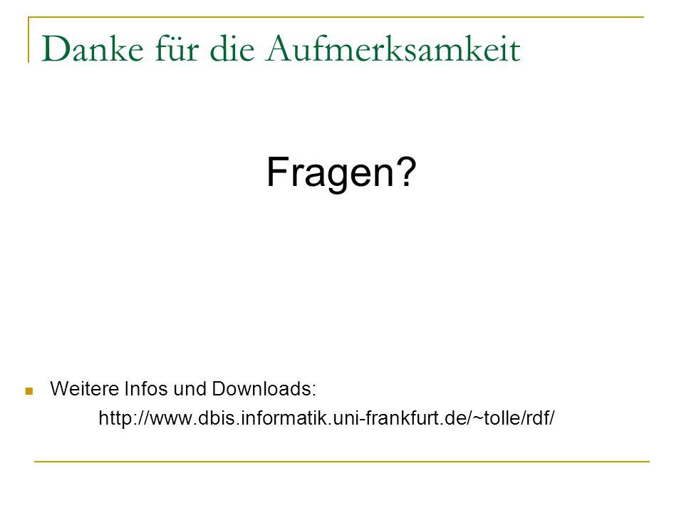 Danke für die Aufmerksamkeit Fragen? Weitere Infos und Downloads: http://www.dbis.informatik.uni-frankfurt.de/~tolle/rdf/