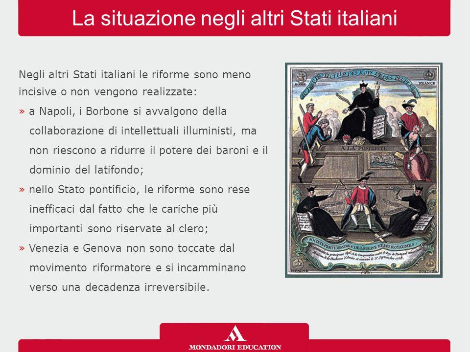 La situazione negli altri Stati italiani Negli altri Stati italiani le riforme sono meno incisive o non vengono realizzate: » a Napoli, i Borbone si a
