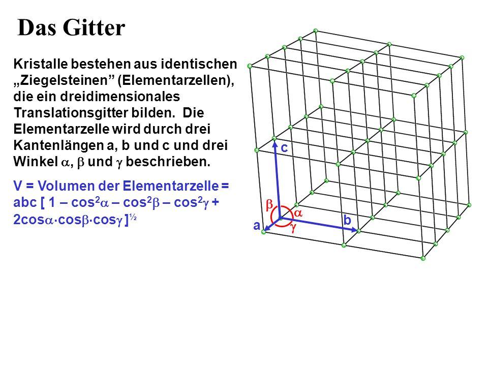 """Das Gitter Kristalle bestehen aus identischen """"Ziegelsteinen"""" (Elementarzellen), die ein dreidimensionales Translationsgitter bilden. Die Elementarzel"""