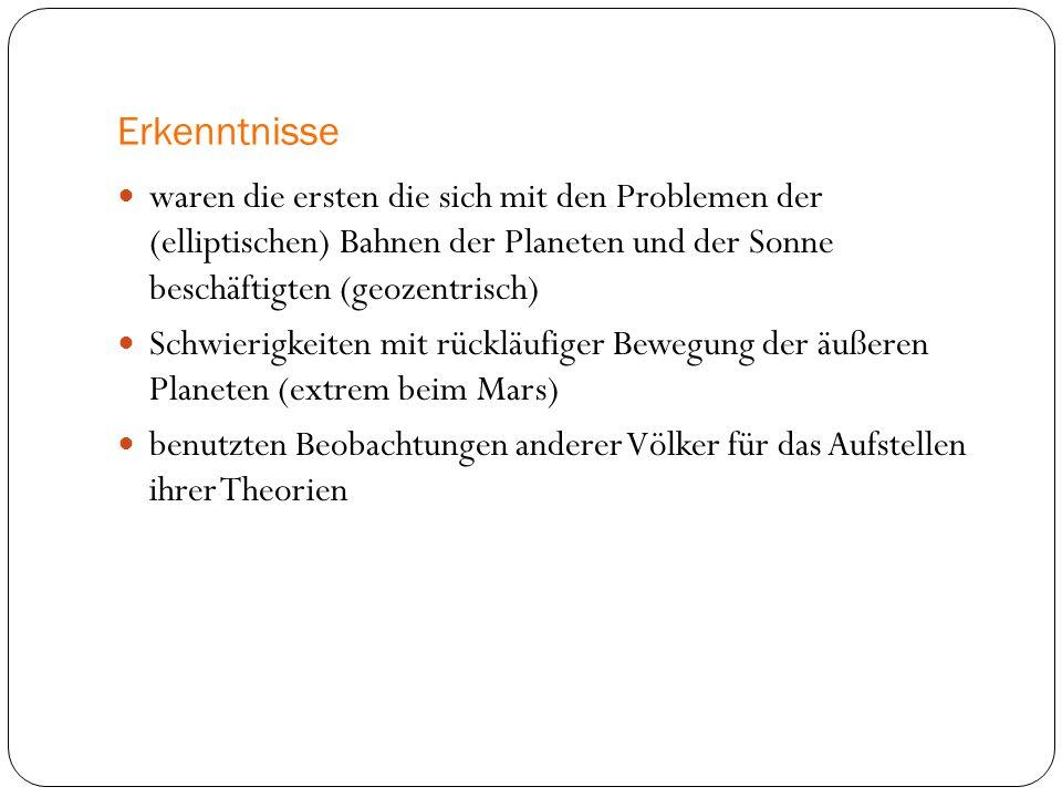 Erkenntnisse waren die ersten die sich mit den Problemen der (elliptischen) Bahnen der Planeten und der Sonne beschäftigten (geozentrisch) Schwierigke