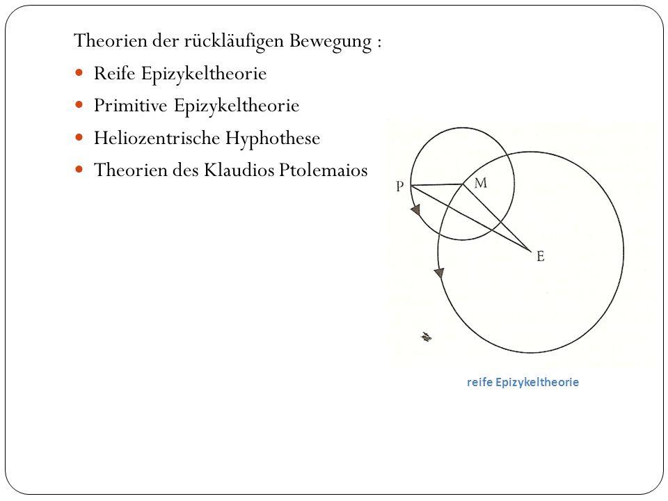 Theorien der rückläufigen Bewegung : Reife Epizykeltheorie Primitive Epizykeltheorie Heliozentrische Hyphothese Theorien des Klaudios Ptolemaios reife