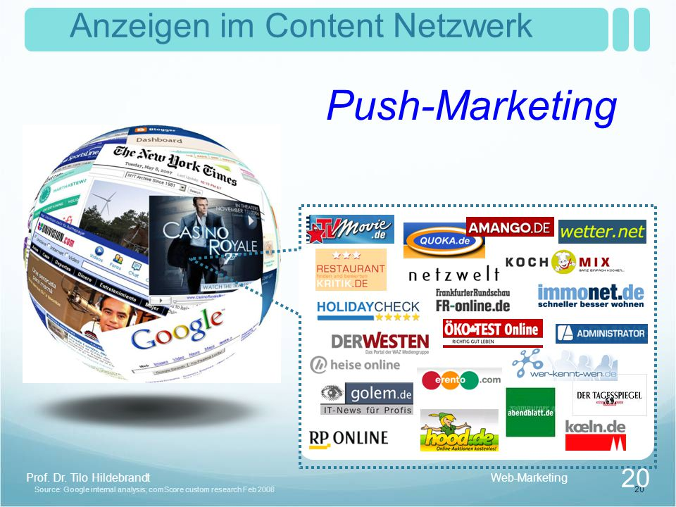 20 Source: Google internal analysis; comScore custom research Feb 2008 Anzeigen im Content Netzwerk Push-Marketing Web-Marketing 20 Prof.