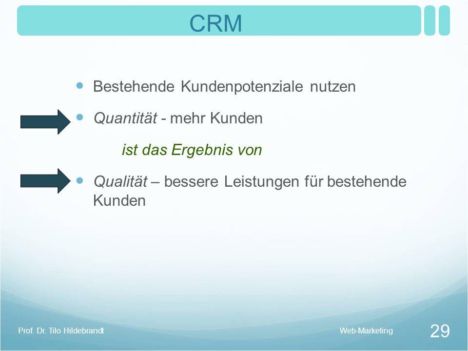 CRM Bestehende Kundenpotenziale nutzen Quantität - mehr Kunden ist das Ergebnis von Qualität – bessere Leistungen für bestehende Kunden 29 Prof. Dr. T